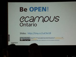 A slide for Be Open! An eCampus Ontario discussion