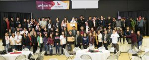 Student from Indspire line up for their photo