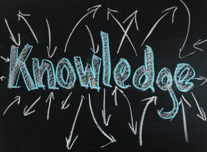 The word knowledge is written on a blackboard