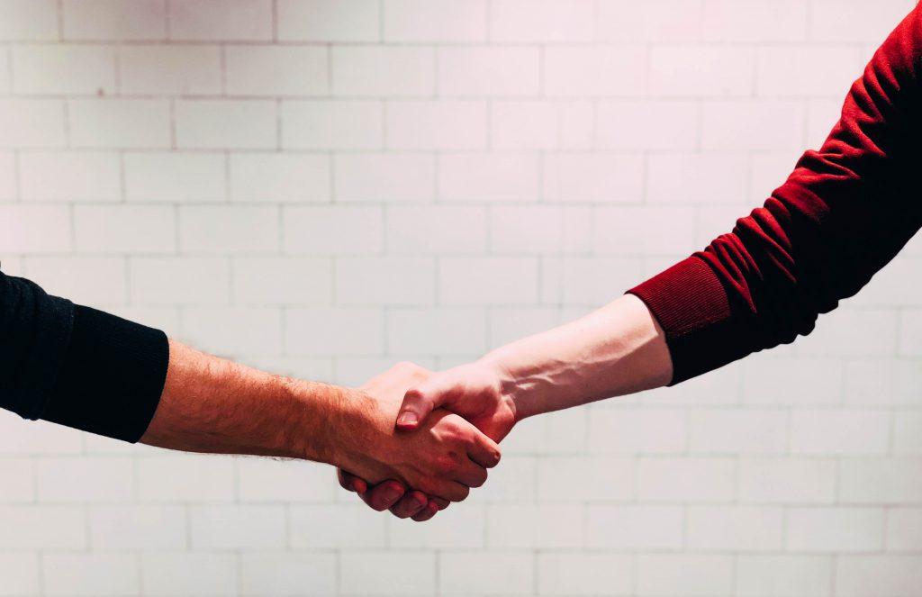 a collaborative handshake