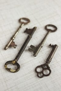 Four antique keys